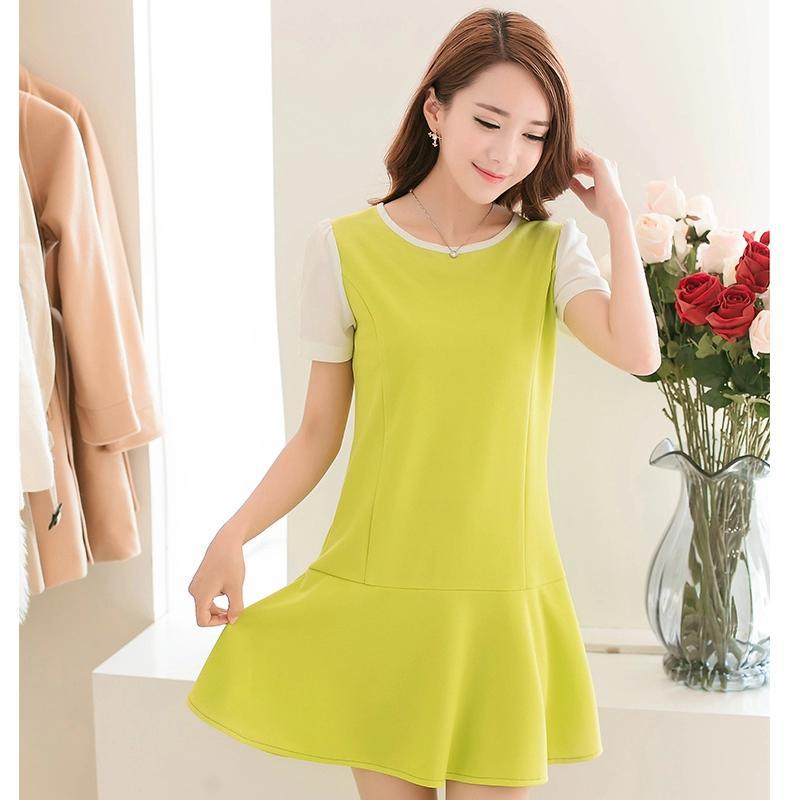 [พรีออเดอร์]ชุดเดรสผู้หญิงแฟชั่นเกาหลีใหม่ แขนสั้น - [Preorder] New Korean Fashion Slim Short-sleeved Dress
