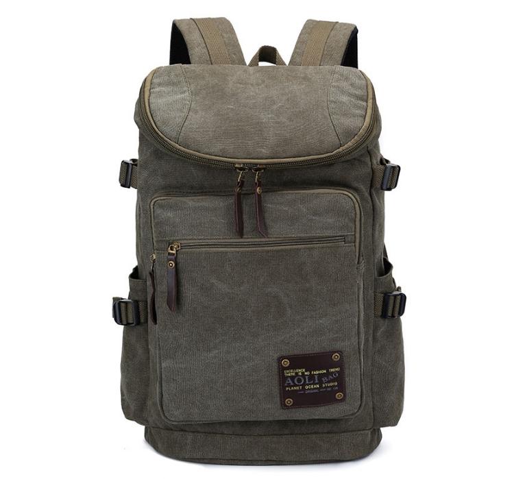 กระเป๋าเป้ AOLI Canvas สีกากี