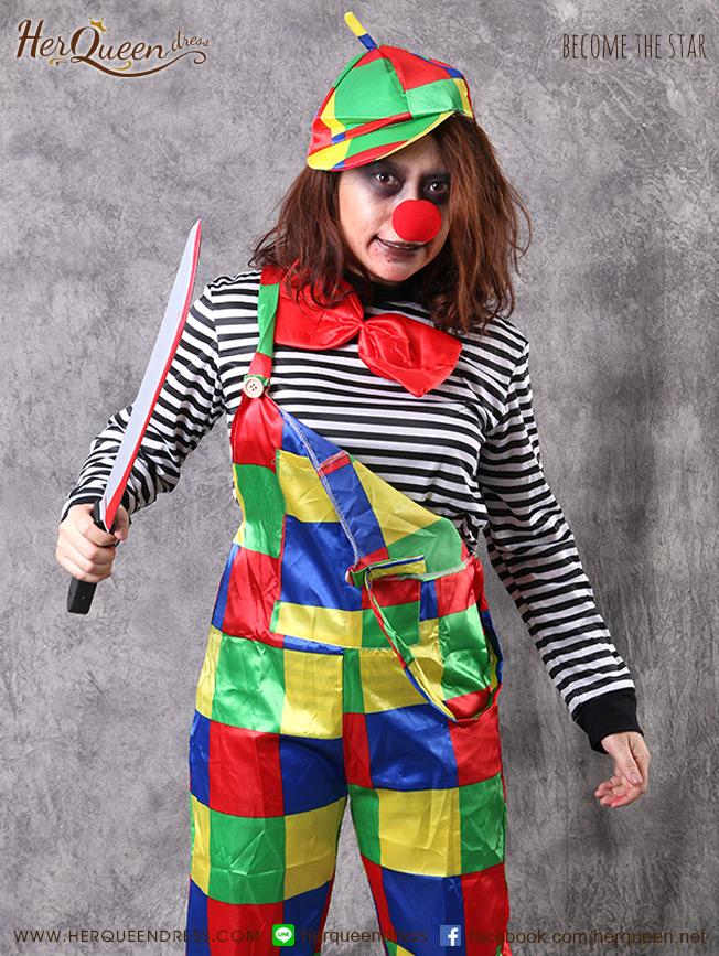 เช่าแฟนซี &#x2665 ชุดแฟนซี ฮาโลวีน ชุดตัวตลกผีสุดหลอน Carnival เอี๊ยมสีสด