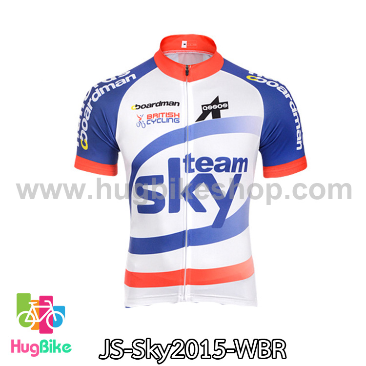 เสื้อจักรยานแขนสั้นทีม Sky 15 สีขาวฟ้าแดง สั่งจอง (Pre-order)