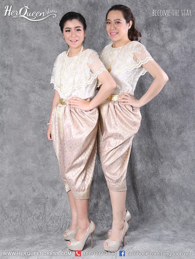 เช่าชุดไทย&#x2665 ชุดไทย ร.7 เสื้อลูกไม้สวยหรู ใส่กับโจงกระเบนชมพูเหลือบเงิน