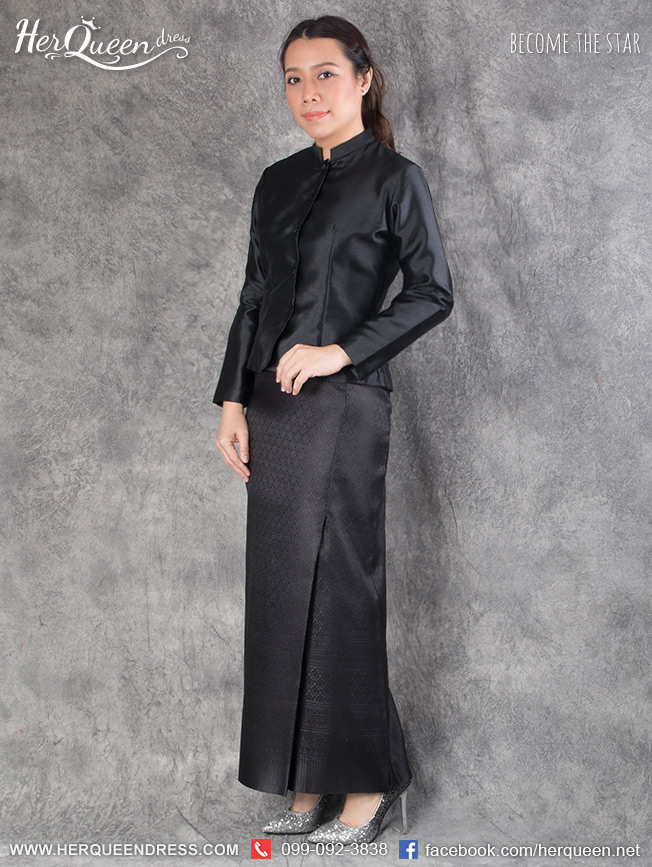เช่า - ขายชุดไทยไว้ทุกข์ &#x2665 ชุดไทยจิตรลดา รุ่นแขนตรง สีดำ