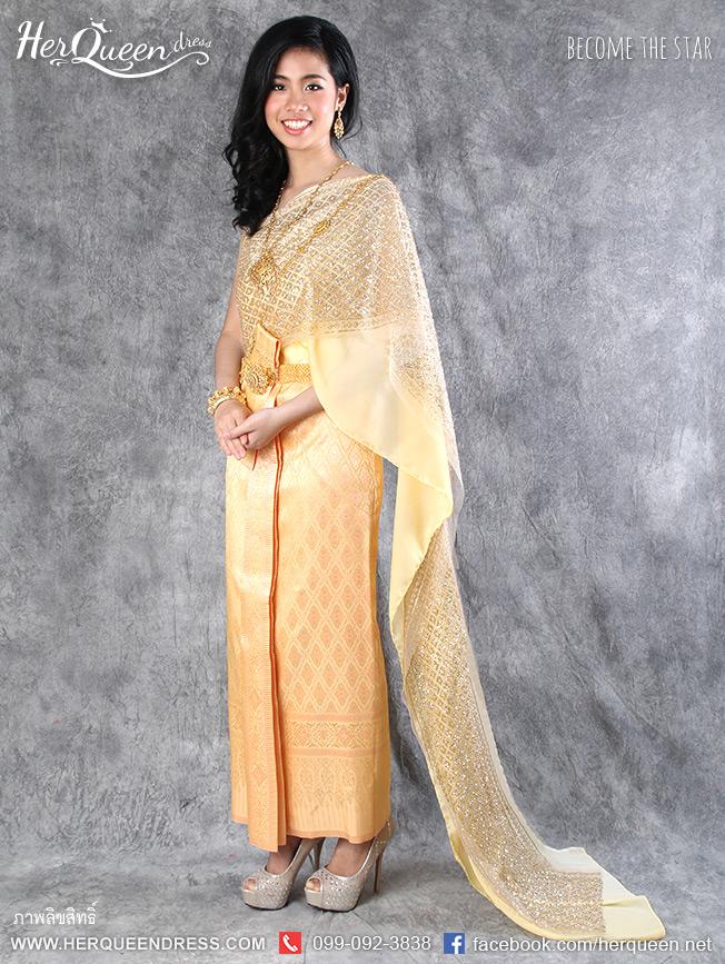 เช่าชุดไทย&#x2665 ชุดไทยสไบเกล็ด 2 ชั้น ซิ่นไล่สีทองอมโอโรส หน้านาง 5 ชั้น ยกพกแผ่