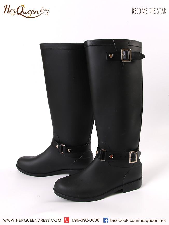 เช่ารองเท้า &#x2665 รองเท้าบู๊ทยาง สีดำ ซิบหลังขลิบแดง
