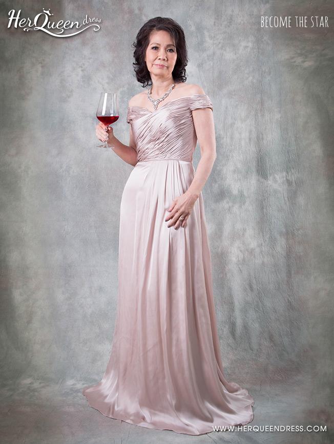 เช่าชุดราตรี &#x2665 ชุดราตรี ยาว ไหล่ปาดผ้าเนื้อทิ้ง สง่างาม - สีชมพูกะปิ