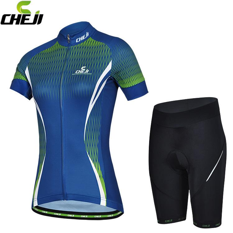 ชุดจักรยานผู้หญิงแขนสั้นขาสั้น CheJi 14 (14) สีน้ำเงินลายเขียว สั่งจอง (Pre-order)