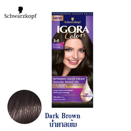 Schwarzkopf IGORA Colors อีโกร่า อินเทนซีฟ คัลเลอร์ ครีม 3-0 Dark Brown น้ำตาลเข้ม 50ml.