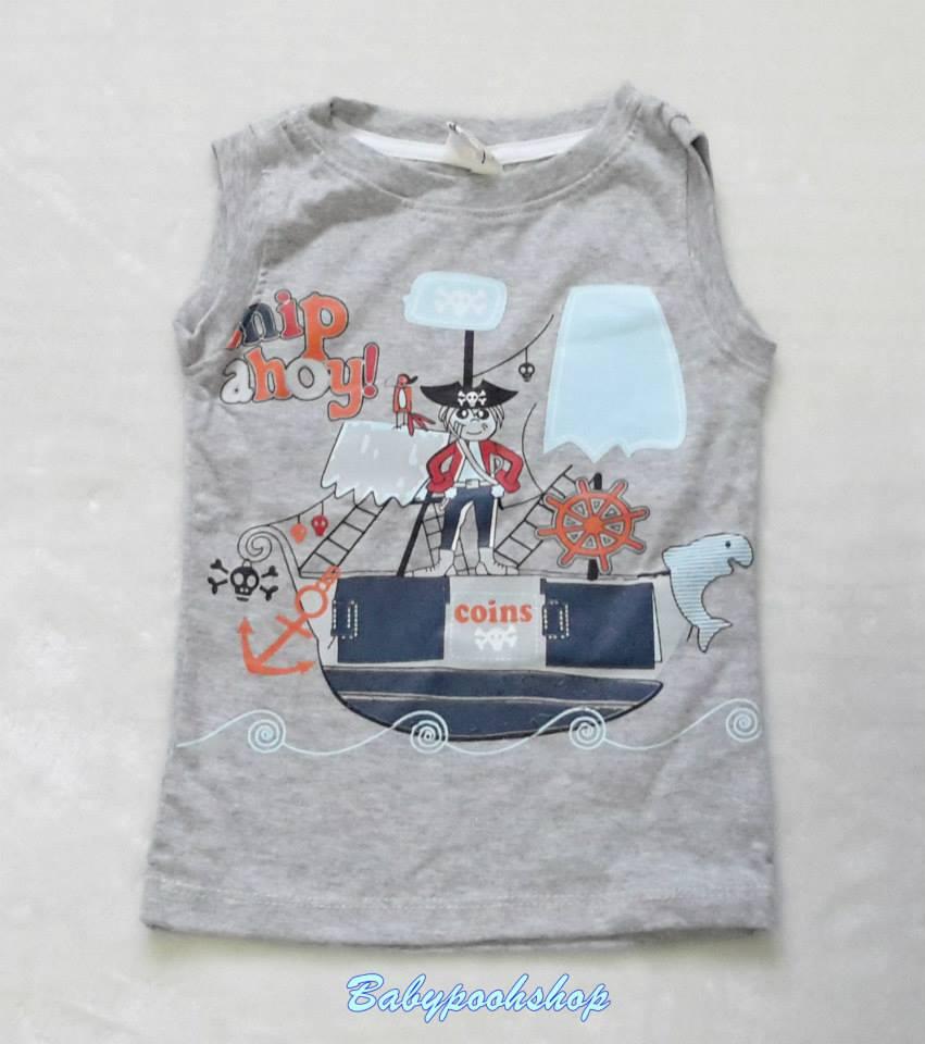 H&M : เสื้อกล้ามสีเทา สกรีนลาย โจรสลัด Size : 1-2y / 2-3y