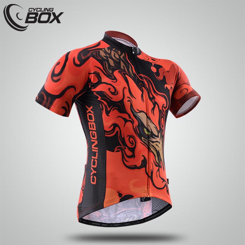 เสื้อจักรยานแขนสั้น Cyclingbox สี่สัตว์เทพ สีดำแดงลายนก สั่งจอง (Pre-order)