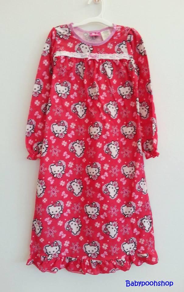 Hello Kitty : ชุดนอนแขนยาว ผ้าสำลี พิมพ์ลาย คิตตี้ สีแดง size : 6y / 7-8y / 10y