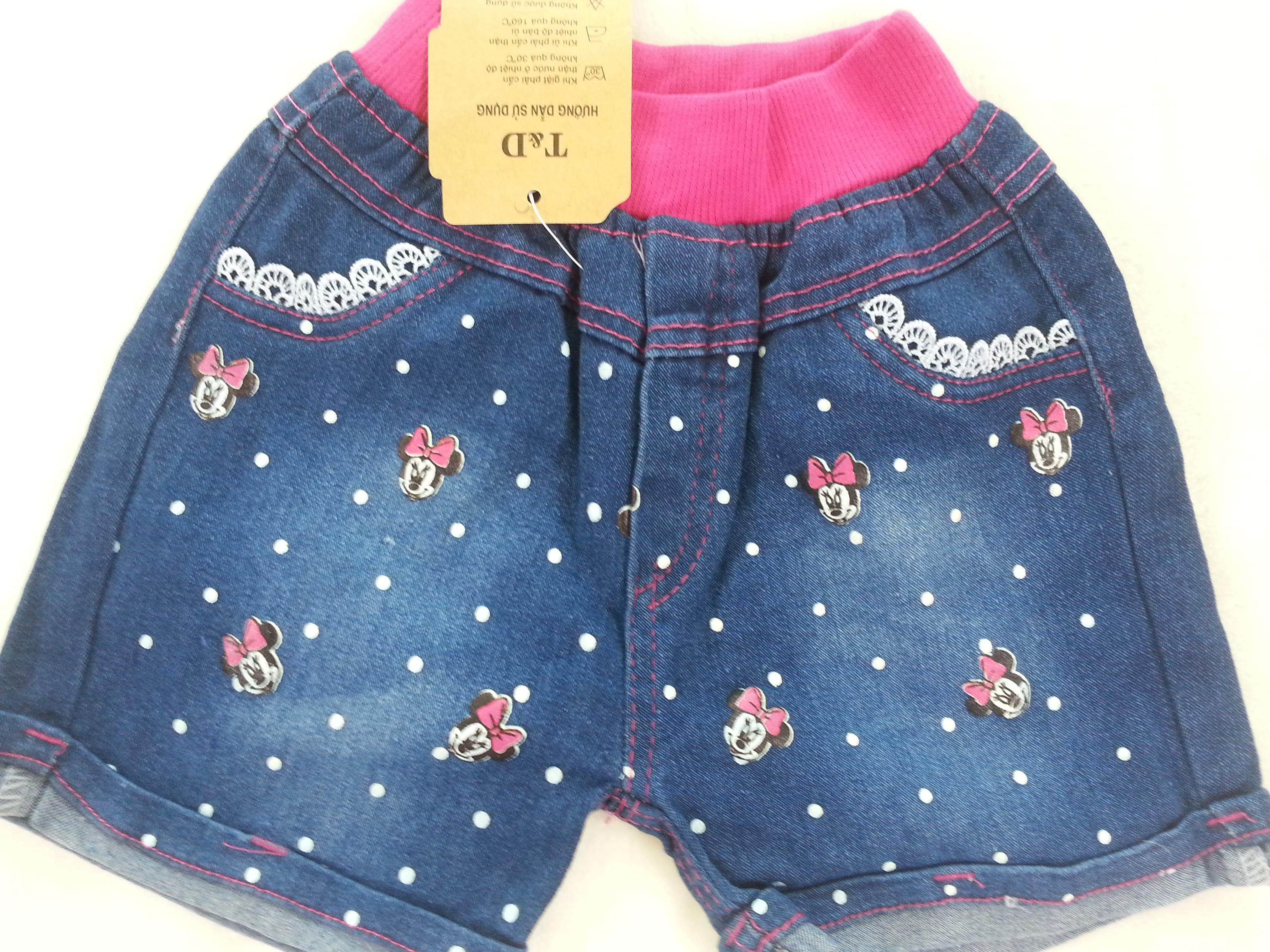 H&H : กางเกงยีนส์ขาสั้น ลายสกรีนมินนี่เมาส์ size : 1 (1-2y) / 6 (4-5y)