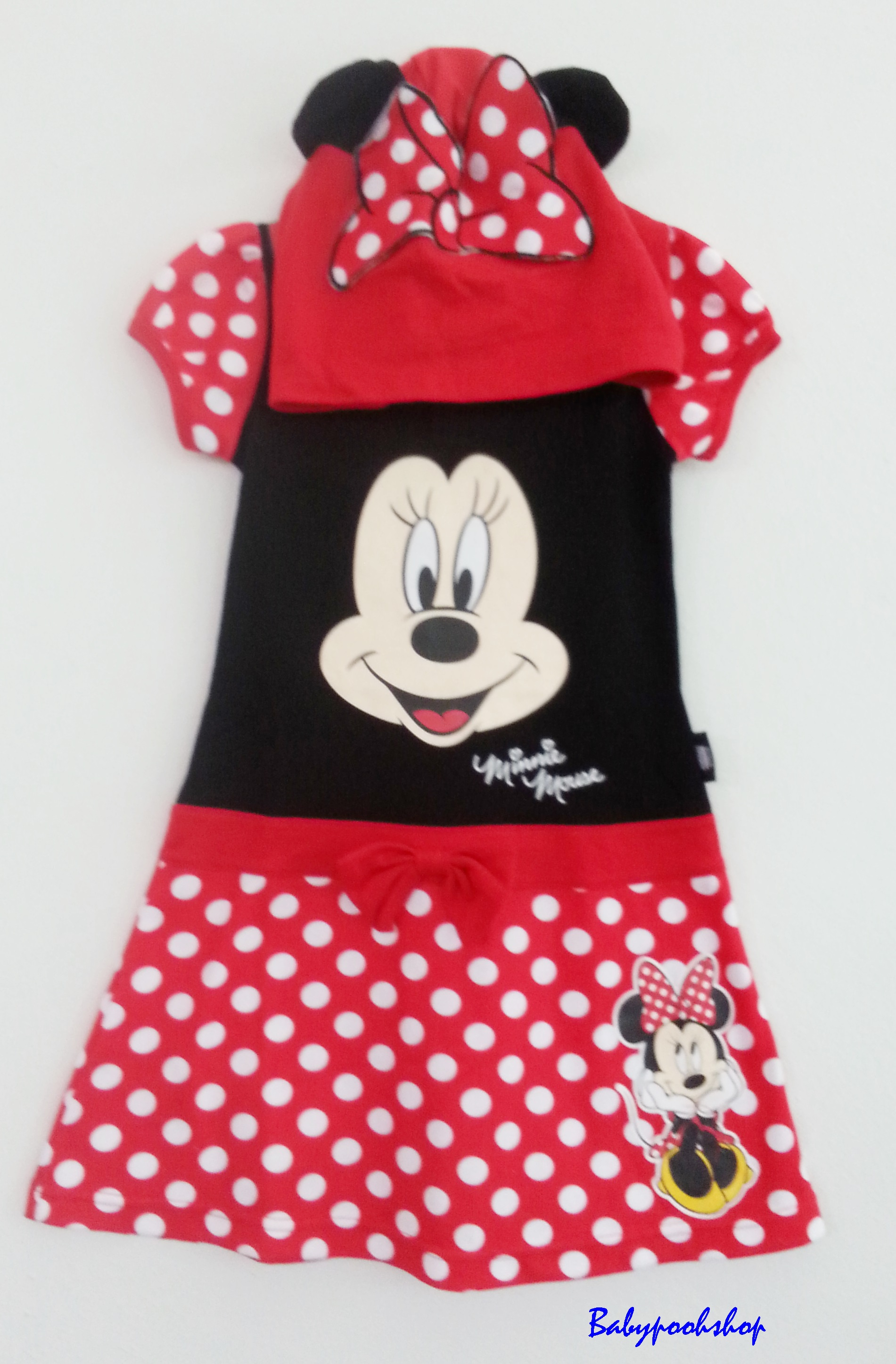Disney : เดรสมินนี่สีแดงลายจุด มีฮูด size S (2-3y)