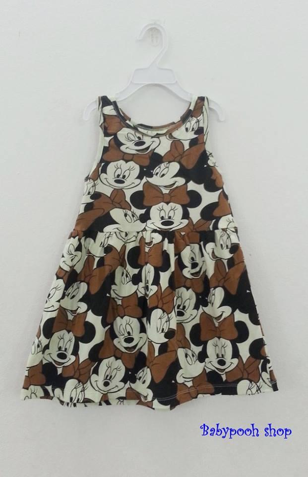 Disney : เดรสพิมพ์ลายมินนี่เมาส์ สีน้ำตาล ผ้ายืด size : 1-2y / 2-4y / 4-6y / 6-8y / 8-10y