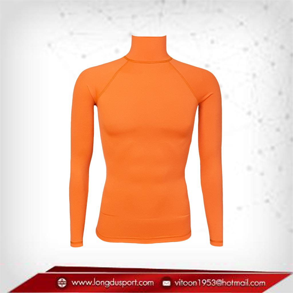 Body Fit / Base Layer เสื้อรัดรูป คอตั้ง แขนยาว สีส้ม darkorange