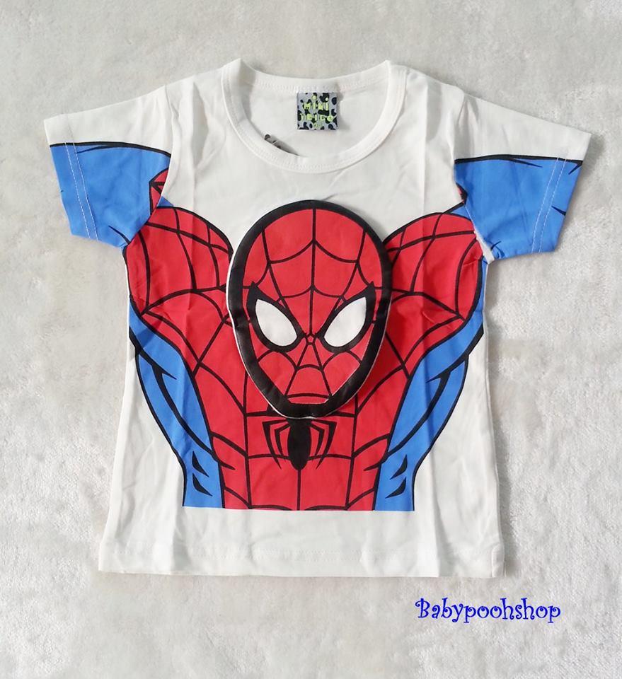 เสื้อ สกรีนลาย spiderman สีขาว (ตรงหน้า นูนขึ้นมา) size 90