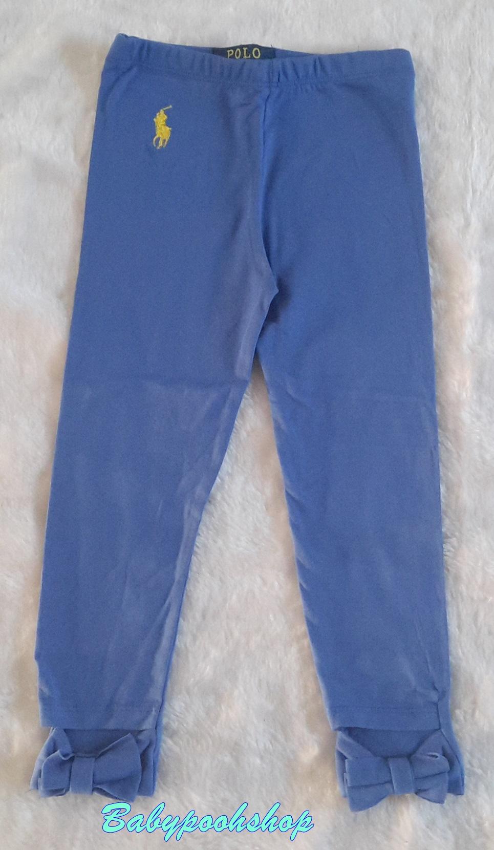 Polo : เลคกิ้งสีพื้น ผูกโบว์ที่ปลายขา สีน้ำเงิน เนื้อผ้านิ่มค่ะ size 6-8y / 8-10y