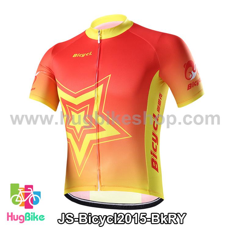 เสื้อจักรยานแขนสั้นทีม Bicycl 2015 สีแดงเหลือง สั่งจอง (Pre-order)