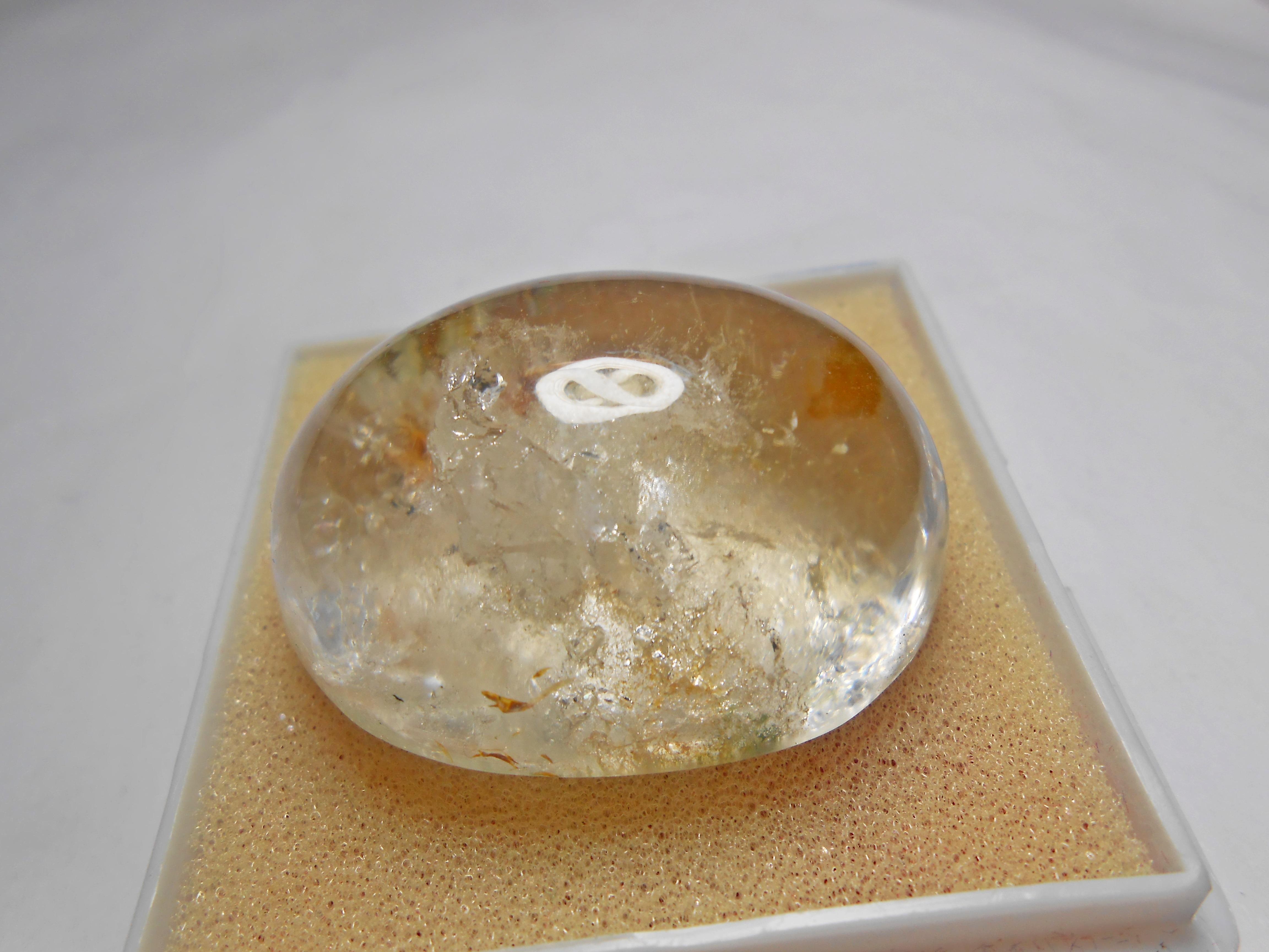 เม็ดโต แก้วสามกษัตริย์ เข้าแก้วลอย+กาบ+เข้าแร่ ขนาด3.8*2.9 cm ทำกำไลข้อมือเม็ดเดียวหรือสะสม