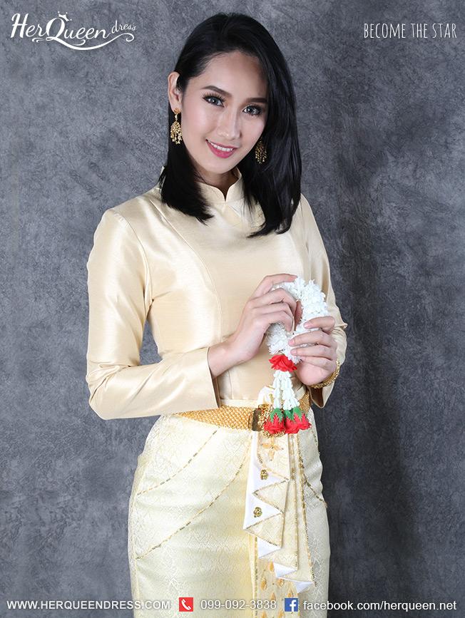 เช่าชุดไทย &#x2665 ชุดไทยบรมพิมาน - สีทองอ่อน อมครีมเหลือง