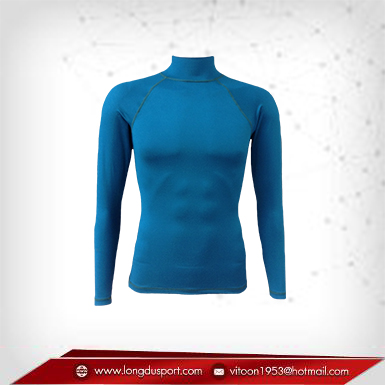 Body Fit / Base Layer เสื้อรัดรูป คอตั้ง แขนยาว สีฟ้า darkstateblue