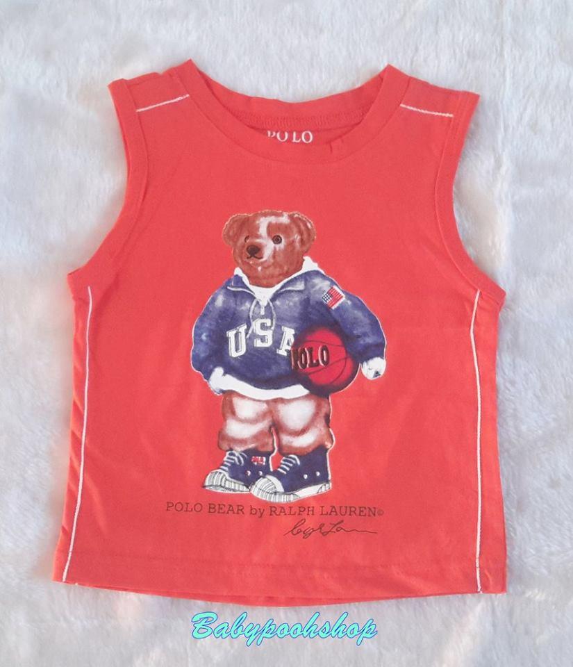 POLO : เสื้อกล้ามสกรีนลายน้องหมี ถือลูกบาส สีส้ม size : 1 / 4 / 11 / 12