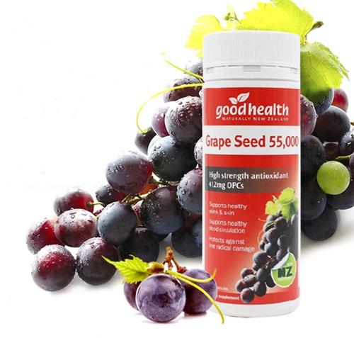 goodhealth grape seed 55,000 mg. สารสกัดเมล็ดองุ่น มี OPC สูงถึง 412 MG. จากนิวซีแลนด์ เพื่อผิวกระจ่างใส และสุขภาพดี ทานดีมาก เห็นผลดี ขนาด 120 แค็บซูล