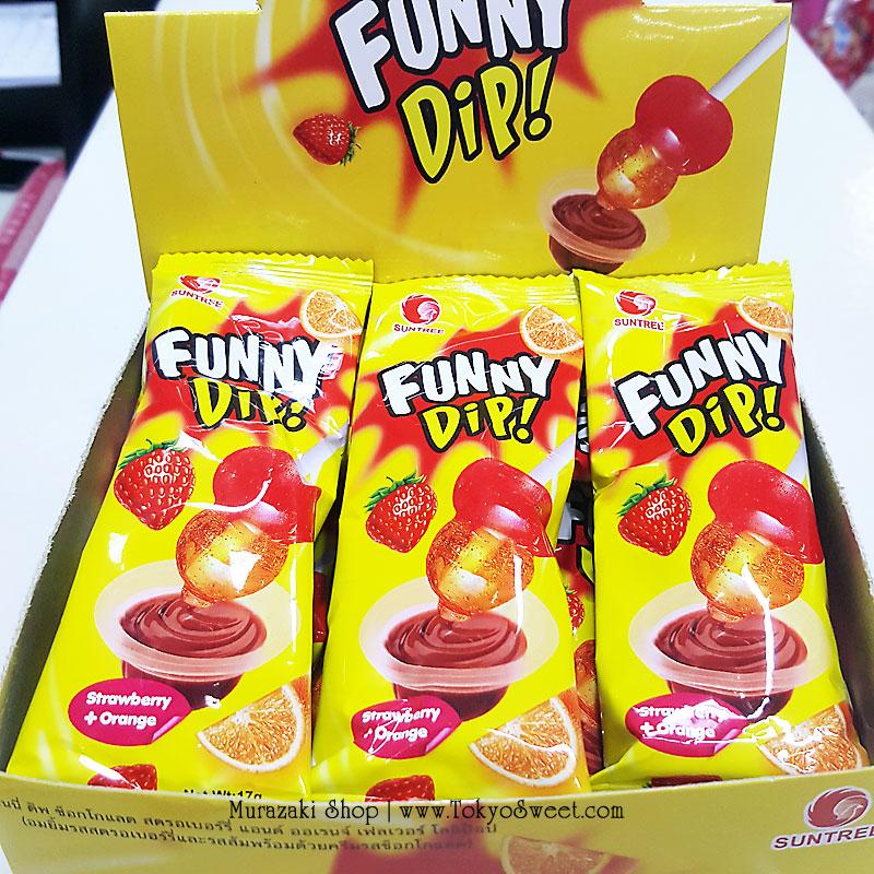 พร้อมส่ง ** Funny Dip Strawberry + Orange อมยิ้มดิปช็อคโกแลต รสสตรอเบอร์รี่และส้ม 1 ชิ้น (สินค้ามีอย.ไทย)