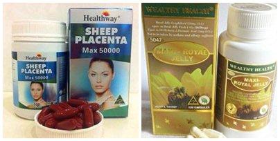 (ขายดีมาก)รกแกะ healthway 50,000 mg.max 1 ขวด 100 เม็ด +นมผึ้งwealthy health maxi6 1 ขวด 120 เม็ด