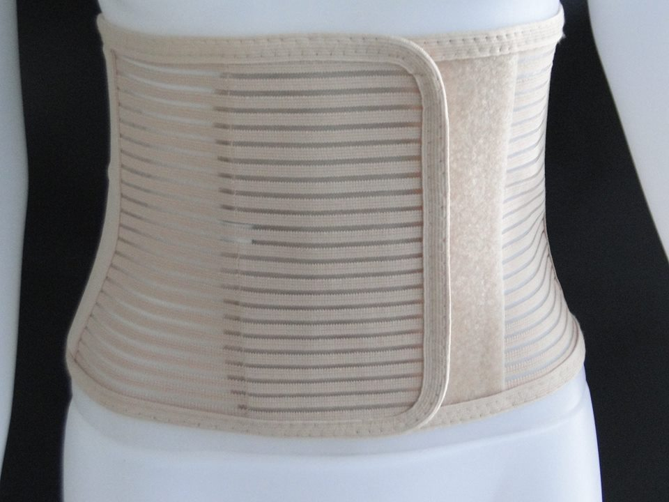 Abdominal Belt - ยางยืดรัดหน้าท้อง Size L 36-40 นิ้ว (สีเบจ)