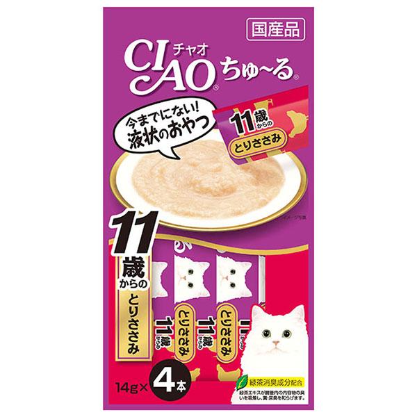 พร้อมส่ง ** Ibana - CIAO Chu~ru [Torisasami for over 11 years] ขนมแมวเลีย ชนิดครีม ใช้สันในไก่เป็นส่วนประกอบหลัก สูตรสำหรับแมวแก่อายุ 11 ปีขึ้นไป ผสมคอลลาเจน ทานง่ายน้องแมวชอบมากๆ ฮิตสุดๆ ทั้งที่ไทยและญี่ปุ่น Made in Japan