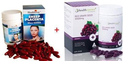 Healthway Sheep placenta max 50000 mg. 100 เม็ด + Health Essence Red Grapeseed 55,000 mg 100 เม็ด (รกแกะ+เกรฟซีด ทานได้ 3 เดือนกว่าเลยจ้า)