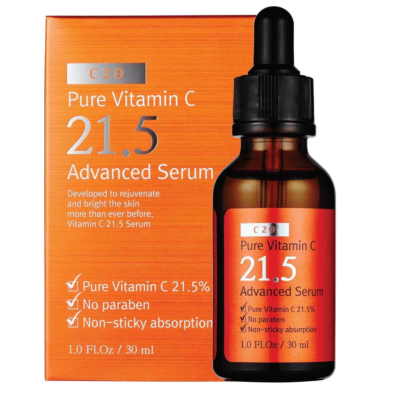 ++พร้อมส่ง++C20 Pure Vitamin C 21.5 Advanced Serum 30ml เซรั่มวิตามินซีเข้มข้น 21.5% ปรับสูตรใหม่ให้อ่อนโยนต่อผิว ช่วยให้ผิวขาว ใส ลบเลือนรอยแดง จุดด่างดำ ให้จางลงอย่างเห็นได้ชัด ภายใน 7 วัน