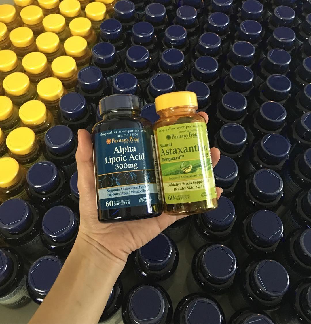 Astraxanthin(แอสต้าแซนธิน) Puritan 5mg 60 softgels + ALA วิตามินเร่งขาว Puritan Alpha Lipoic Acid 300 mg 60 60 softgels ทานร่วมกันลดเลือนริ้วรอย เร่งขาวเร็วขึ้น 2 เท่าUSA