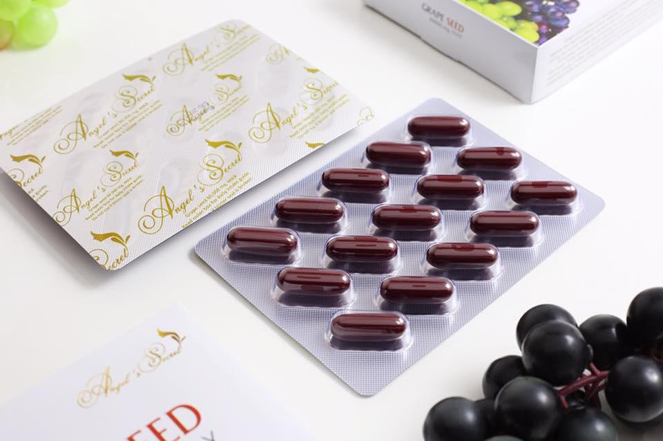 (แบ่งขาย 90 เม็ด)Angel's secret Grape Seed Extract 60,000 mg .สารสกัดเมล็ด60,000 mg.สารสกัดจากเมล็ดองุ่นเข้มข้นที่สุด บำรุงผิวให้ขาวกระจ่างใส ลดเส้นเลือดขอด จากออสเตรเลีย