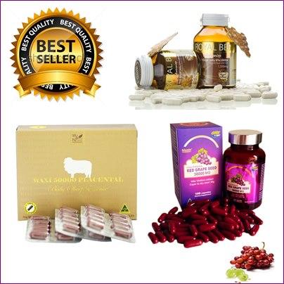 biosis Red Grape Seed 38,000 mg1ปุก+ รกแกะ maxi 50,000 mg. 1กล่อง+ นมผึ้งรอยัลบี 30 เม็ด บำรุงผิวเพื่อผิวสุขภาพดี เนียนใส