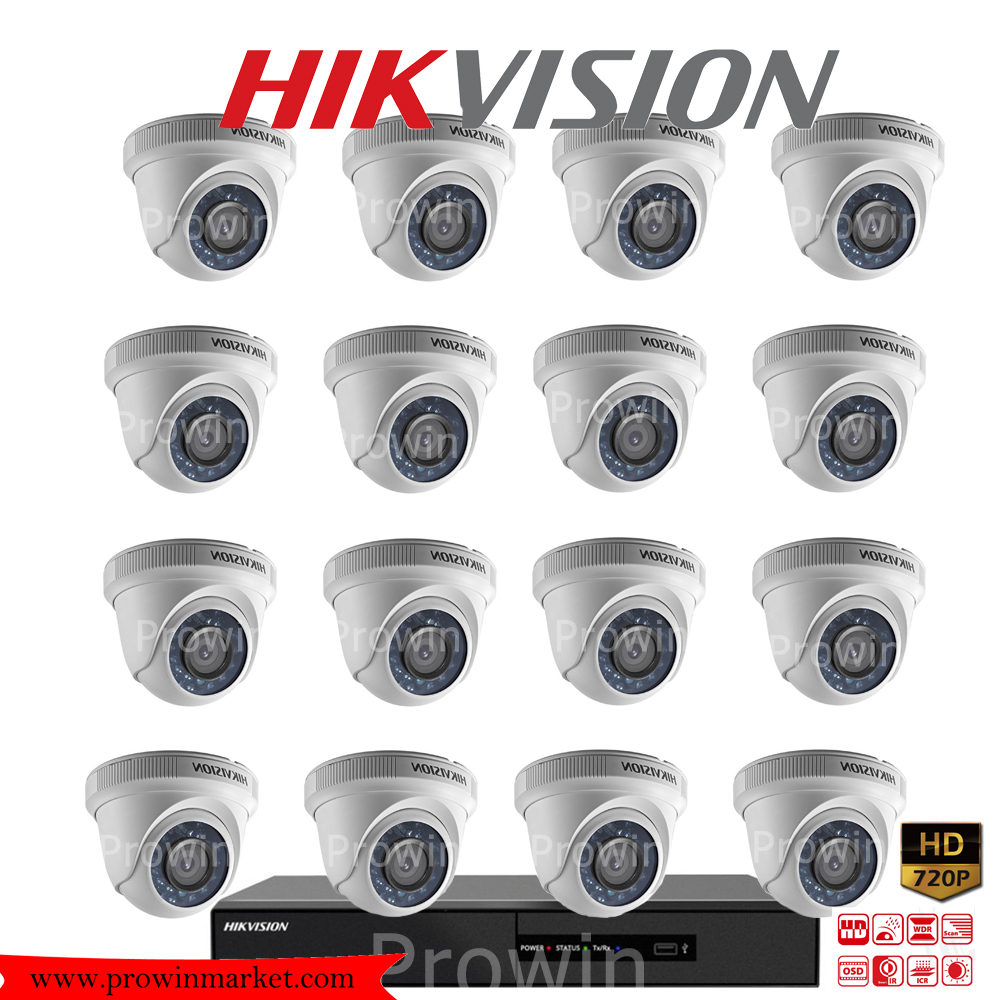 Hikvision (( Camera Set 16 )) DS-2CE56C0T-IR x 16, DS-7216HQHI-F2/N x 1