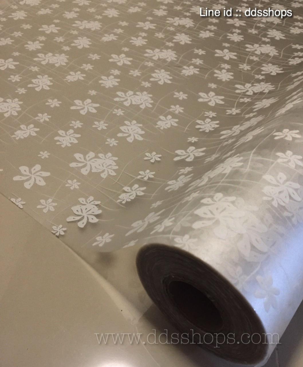 """สติ๊กเกอร์ติดกระจกแบบมีกาวในตัว """"White Classic Flower"""" หน้ากว้าง 90 cm ตัดแบ่งขายเมตรละ 189 บาท (ขั้นต่ำ 3m)"""