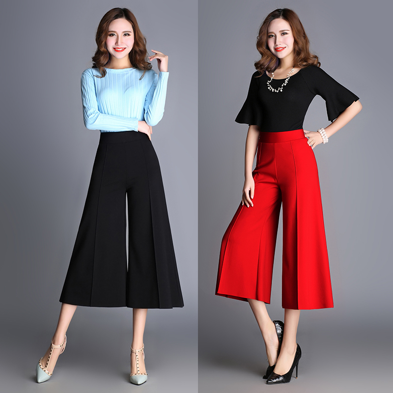กางเกงขากว้าง กางเกงขหญิง สีแดง เอวยางยืด