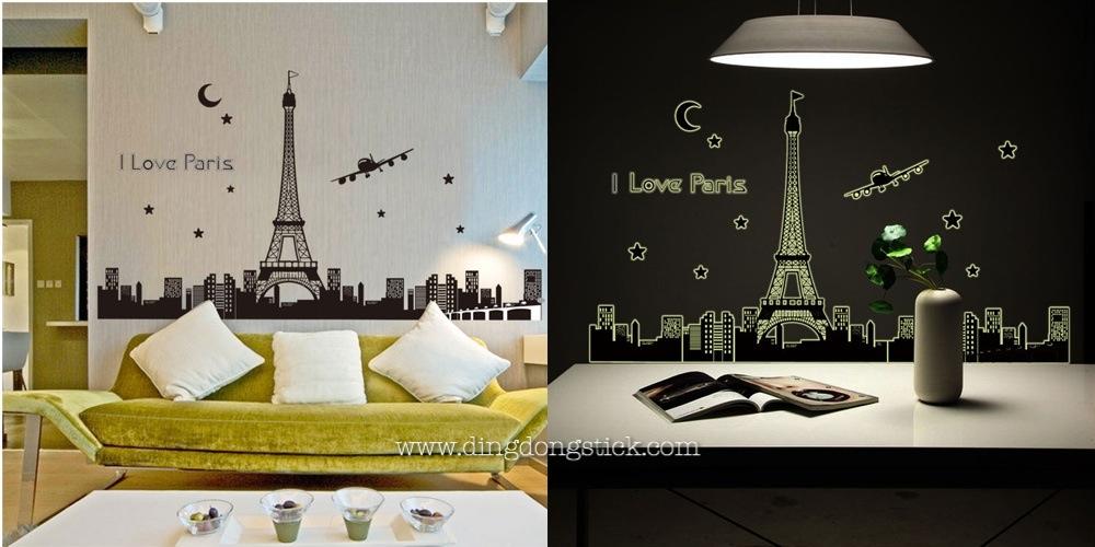 """สติ๊กเกอร์ติดผนังเรืองแสง """"I love Paris"""" ความสูง 92 cm กว้าง 165 cm"""