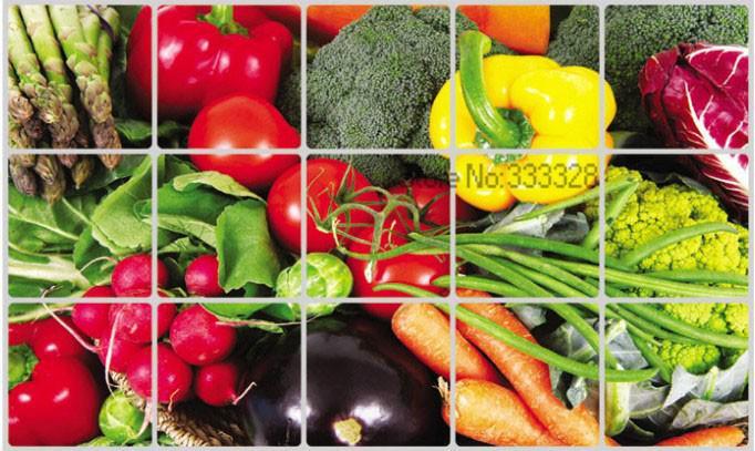 """สติ๊กเกอร์ติดครัว กันน้ำมันกระเด็น อลูมิเนียม """"Best Vegetable"""" ขนาด 45cm x 75cm"""