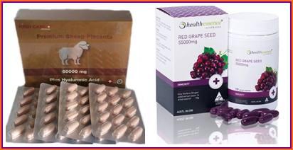 รกแกะ 60000 mg. 1 กล่อง 120 เม็ด + องุ่นแดงHealthessence 55,000 mg 1 ปุก 100 เม็ด ขาวใส อ่อนเยาว์ โดสสูงสุด