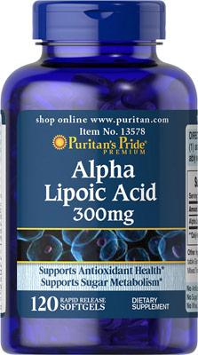 ต้านอนุมูลอิสระPuritan Pride Alpha Lipoic Acid 300 mg ขนาด 120 Softgels