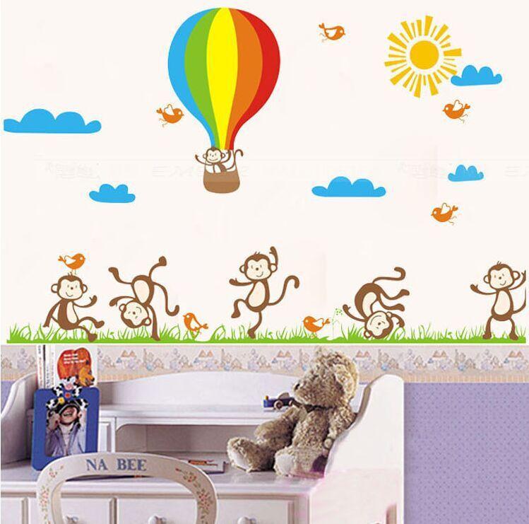 """สติ๊กเกอร์ติดผนังตกแต่งห้องเด็ก เนอสเซอรี่ """"ลิง Funny Monkey"""" ความสูง 80 cm กว้าง 140 cm"""