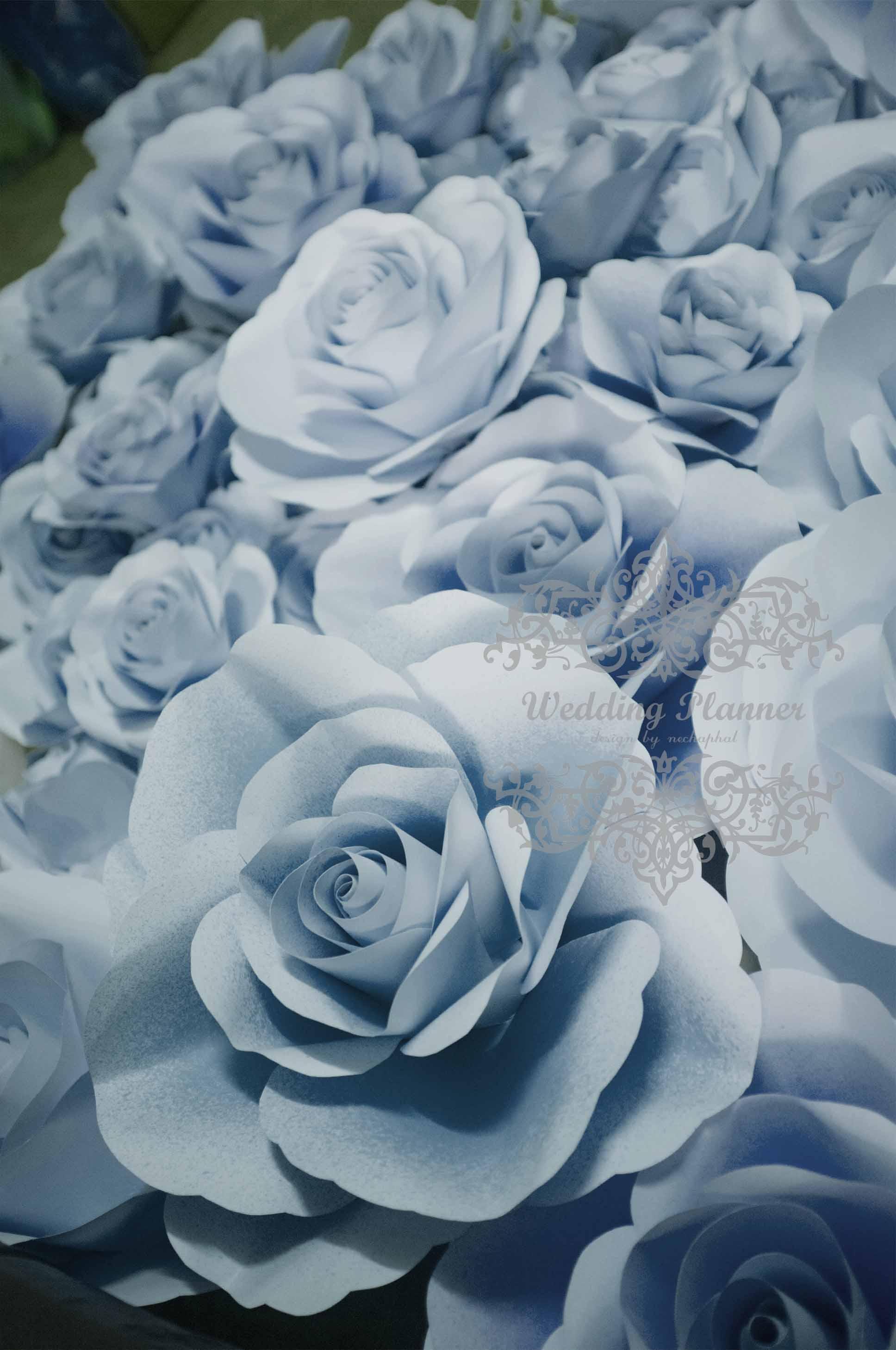 ดอกไม้กระดาษโทนสีฟ้าคราม - flower paper backdrop