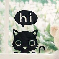 """สติ๊กเกอร์ติดปลั๊กไฟ """"Hi Cat"""" ขนาดซองบรรจุ 15 x 12 cm"""