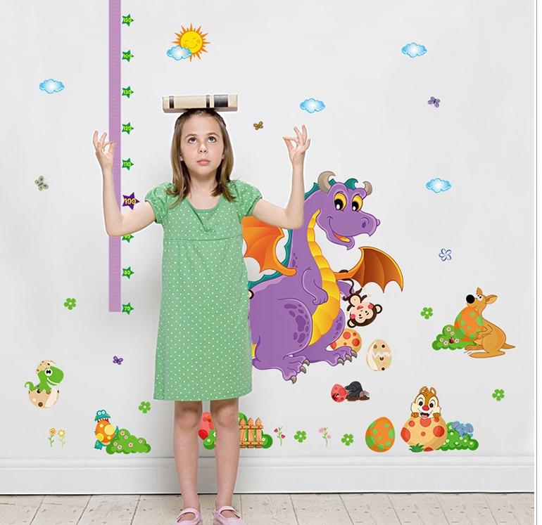 """สติ๊กเกอร์ติดผนังที่วัดส่วนสูง """"ที่วัดส่วนสูงไดโนเสาร์ Cute Dinosour"""" สเกลเริ่มต้น 70 cm ถึง 180 cm"""