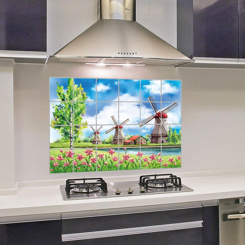 """สติ๊กเกอร์ติดครัวกันน้ำมันกระเด็น """"Flower fence and Wildmill"""" ขนาด 60 cm x 90 cm"""