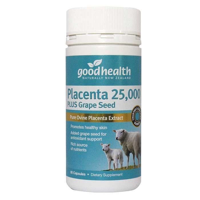 รกแกะ Goodhealth Sheep Placenta 25,000 mg. plus Grape Seed 2,000 mg. 1 ขวด 60 เม็ด บำรุงผิวสวยอ่อนเยาว์ จากนิวซีแลนด์