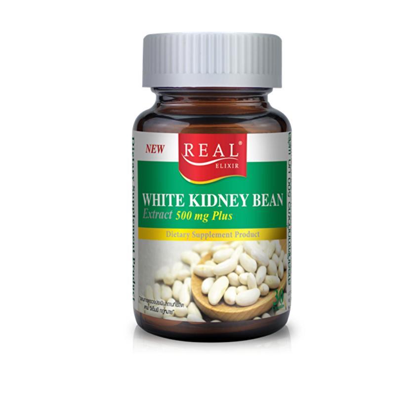 Real Elixir White Kidney Bean Extract ถั่วขาวสกัด 500 mg Plus 30 เม็ด ราคาถูก 280 ส่งฟรี