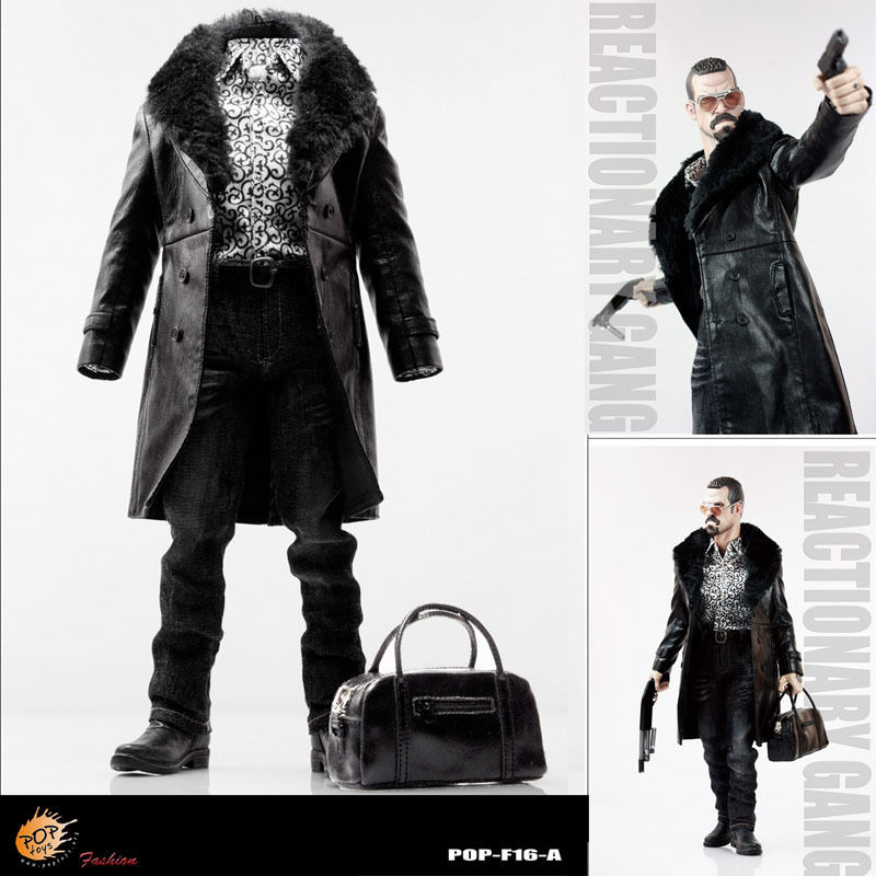 POPTOYS F16-A BLACK The Mafia style leather dress suit